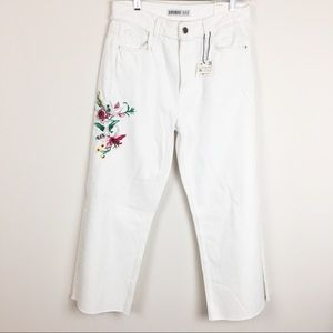 Zara White Floral Embroidery Wide Leg Jeans